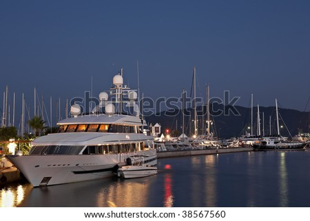 Night Harbor with Beautiful Yachts in Marmaris