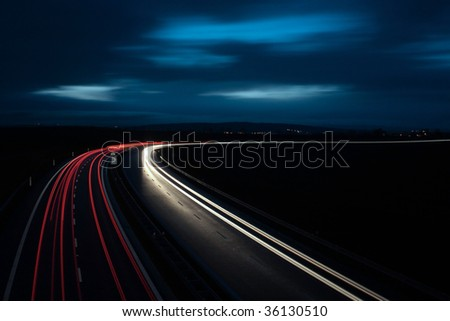 Night highway in the UK