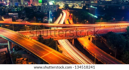 Night highway roads - stock photo