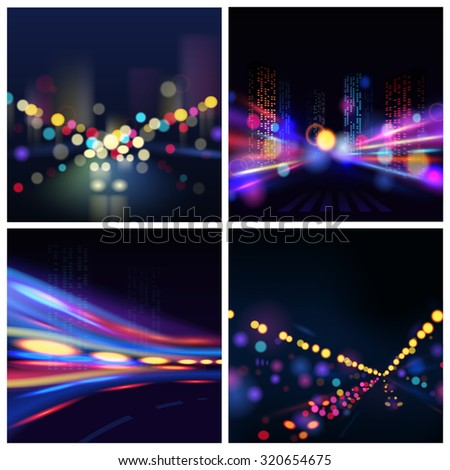 Night illuminated city blur backgrounds set with traffic lights isolated  illustration
