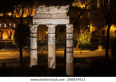 Night illumination ancient Rome attraction Romanum Forum, Italy. - stock photo