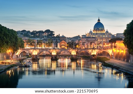 Night image of River Tiber, including: Ponte Sant Angelo and St. Peter's Basilica in the background. Rome - Italy. - stock photo