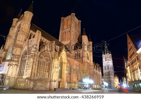 Night image of St Nicholas church in the old town of Ghent, Belgium - stock photo