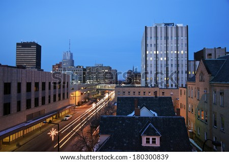 Night in Akron, Ohio - stock photo