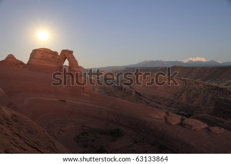 Night in Delicate arch, arches national park, utah - stock photo