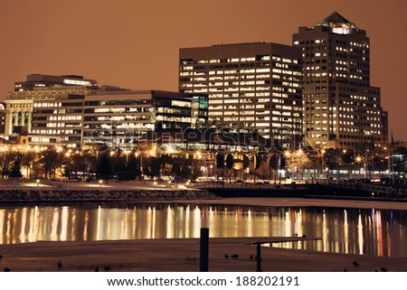 Night in downtown Milwaukee, Wisconsin. - stock photo