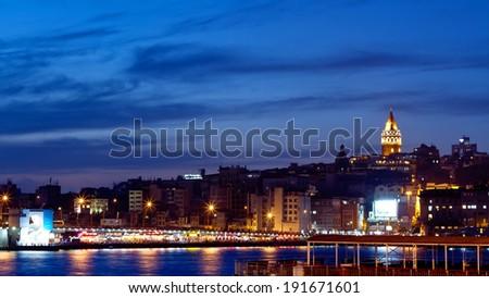 Night in Istanbul. Galata Bridge and Tower at Night in Istanbul, Turkey - stock photo