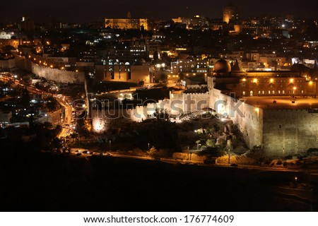 Night in Jerusalem old city, Temple Mount with Al-Aqsa Mosque, view from the Mount of Olives, Israel - stock photo