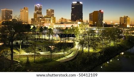 Night in Little Rock, Arkansas - stock photo