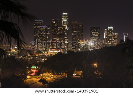 Night in Los Angeles City - stock photo