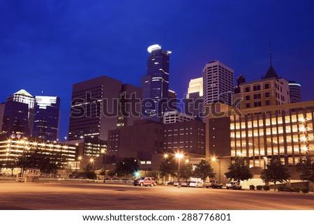 Night in Minneapolis, Minnesota, USA. - stock photo