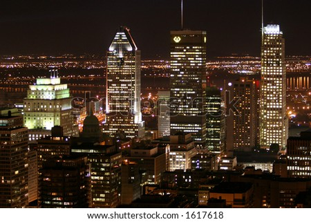 night in montreal - stock photo