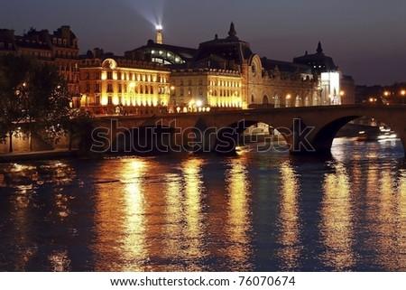 Night in Paris a la Renoir - stock photo