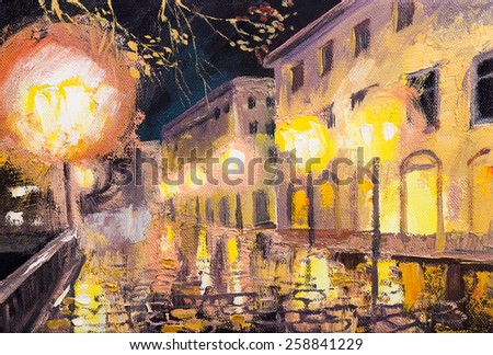 night in Paris, street lamp, colorful oil painting - stock photo