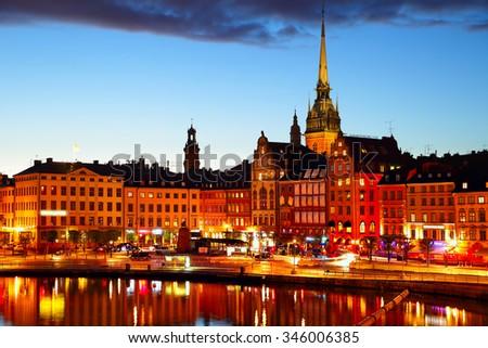 Night in Stockholm, Sweden - stock photo