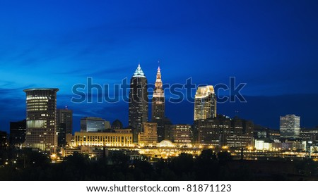 Night in the center of Cleveland, Ohio - stock photo