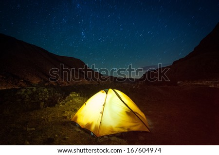Night in the high mountains