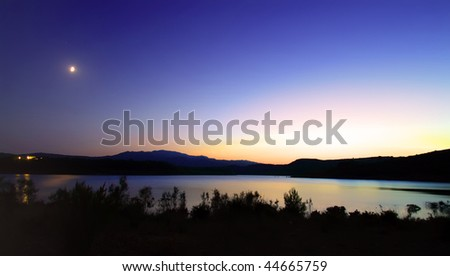 night in the lake - stock photo