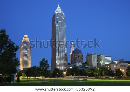 Night in the middle of Cleveland, Ohio. - stock photo