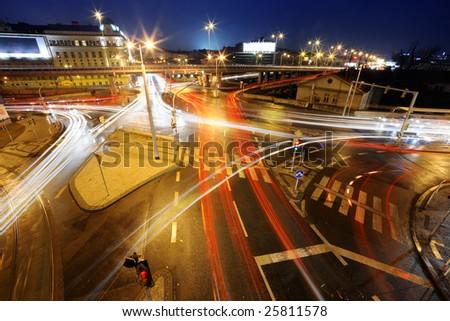 Night intersection - stock photo
