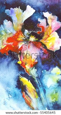 Night Iris, original watercolor illustration painted by me - stock photo