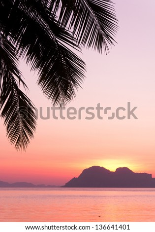 Night is Coming Fiery Backdrop - stock photo