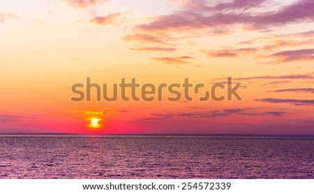 Night is Coming Over Water  - stock photo