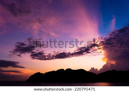 Night is Coming Sunset Glow  - stock photo