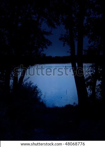 Night lake - bright water and black trees - stock photo