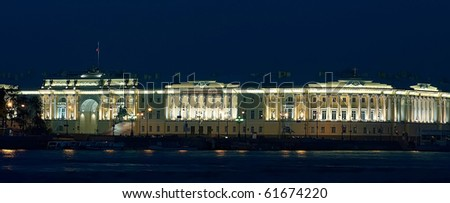 Night landscape: a building of the Constitutional Court and the Copper Horseman on the area on river bank of Neva. St.-Petersburg, Russia