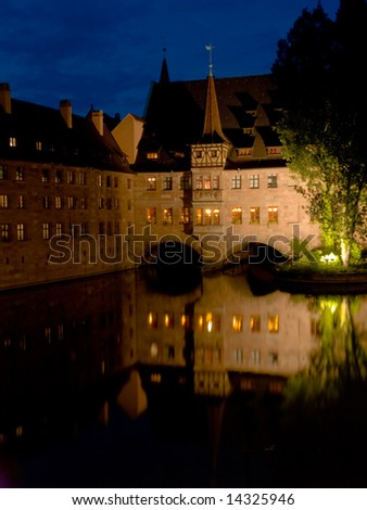 Night landscape in the center of Nuremburg, Germany