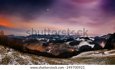 Night landscape in the mountains in Bran, Romania - stock photo