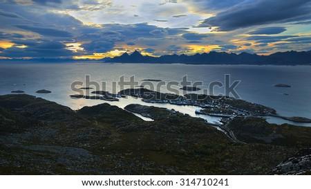 Night landscape Lofoten Islands in Norway - stock photo