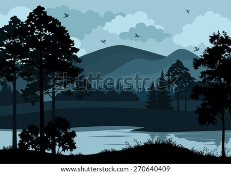 Night Landscape, Mountain Lake, Trees and Cloudy Sky with Birds.  - stock photo