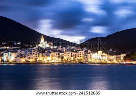 Night landscape of Cadaques, Costa Brava. Spain. - stock photo