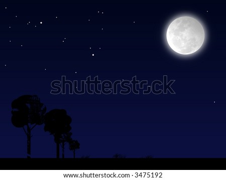 Night landscape with big moon, a silhouette of a tree tree and a blue sky - stock photo