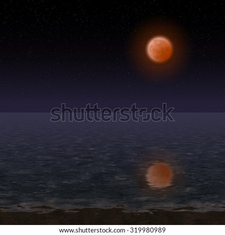 Night landscape with bloody moon - stock photo