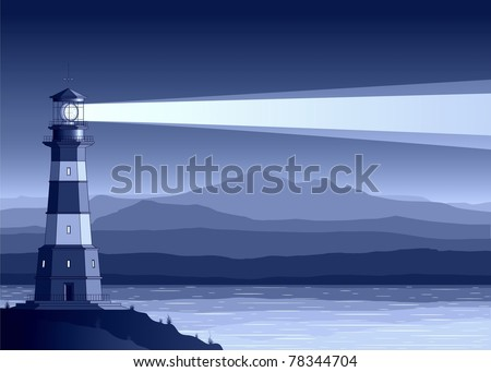 Night  landscape with detailed lighthouse, mountains and sea. Raster illustration. - stock photo