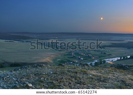night landscape with Moon - stock photo