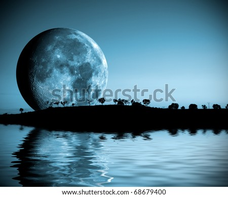 night landscape with moon and lake - stock photo