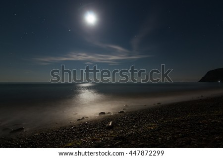 night landscape with the moon path in the sea