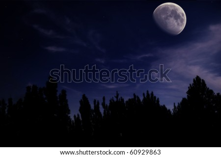 night landscape with the moon, trees silhouette, clouds and stars - stock photo
