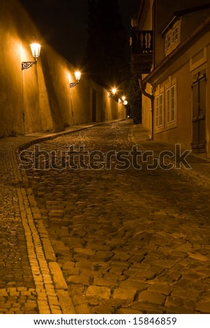 Night lane on New World, on Hradcany in Prague.