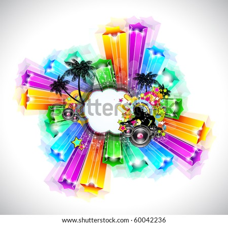 Night Life Disco Event Background with Rainbow Stars and Music Elements - stock photo
