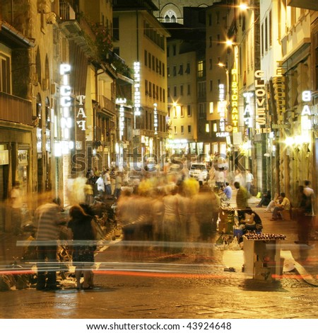 night life of street of  Florence, Italy - stock photo