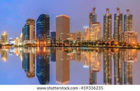 Night light landscape abstract city blur .Panoramic and perspective wide view high rise building skyscraper commercial modern city of future. Business concept of success industry tech architecture - stock photo