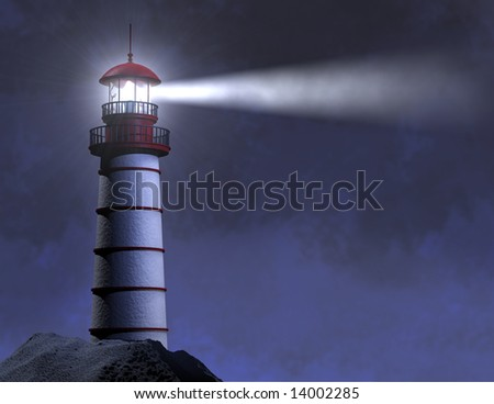 NIGHT LIGHTHOUSE BEAM - stock photo