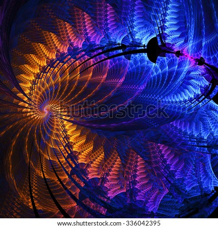 Night lights. Abstract fantasy multicolored swirl on black background. Computer-generated fractal in orange, blue, rose and violet colors.