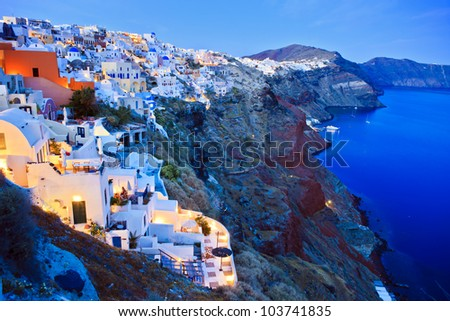 night lights in Santorini - stock photo