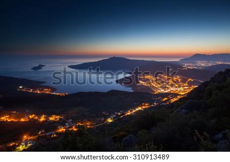 Night lights of Kalkan, Antalya, Turkey - stock photo